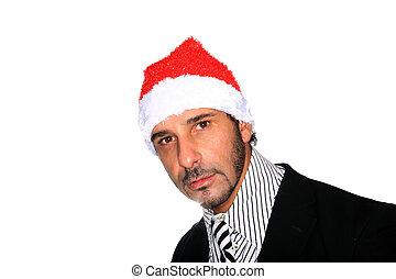hoedje, kerstman, man