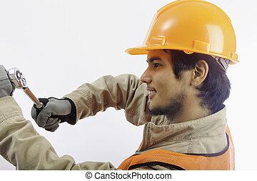 hoedje, latino, arbeider, aziaat, hard
