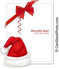 hoedje, linten, rood, kerstman, boww