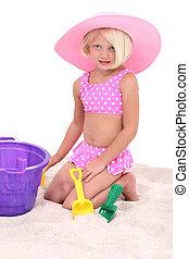 hoedje, meisje, weinig; niet zo(veel), roze, mooi, zwemmen, groot, kostuum