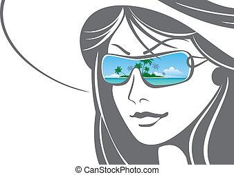 hoedje, meisje, zonnebrillen