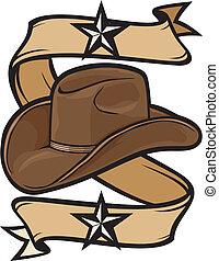 hoedje, ontwerp, cowboy