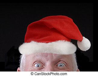 hoedje, oud, kerstman, onnozel, man