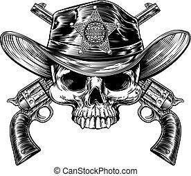 hoedje, pistolen, badge, schedel, sheriff