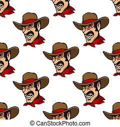 hoedje, seamless, achtergrond, cowboy