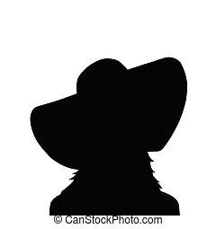 hoedje, vrouw, silhouette, black