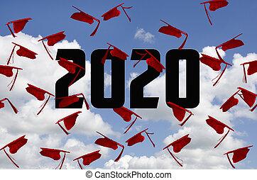 hoedjes, afgestudeerd, afstuderen, rood, 2020