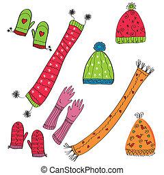 hoedjes, handschoenen, set, winter