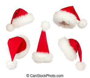hoedjes, set, kerstmis, kerstman