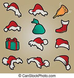 hoedjes, set, kleding, rood, kerstman