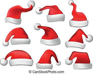 hoedjes, vector, set, kerstmis, kerstman