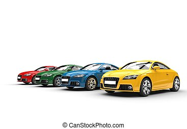 hoek, auto's, -, kleuren, basis, grit
