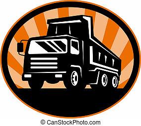 hoek, de vrachtwagen van de stortplaats, laag, voorkant,...
