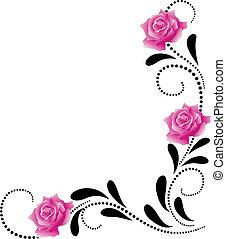 hoek, decoratief, floral, ornament