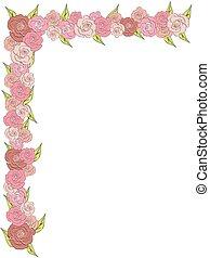 hoek, frame, delicaat, rozen, trouwfeest