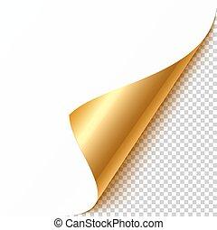 hoek, goud, gekrulde