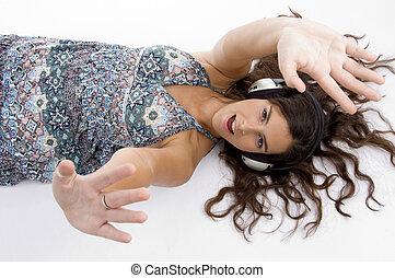 hoek, het leggen, vrijstaand, koptelefoon, hoog, achtergrond, model, witte , aanzicht