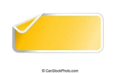 hoek, ineengevouwen , gele, etiket
