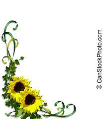 hoek, linten, zonnebloemen, klimop