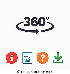 hoek, meetkunde, symbool, meldingsbord, graden, 360, icon.,...