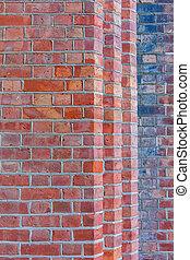hoek, muur, baksteen