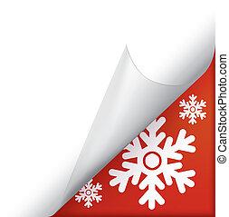 hoek, pagina, snowflakes, gekrulde