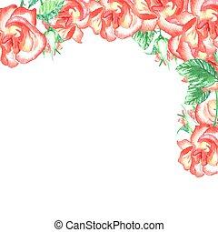 hoek, rozen, grens, ontwerp, trouwfeest