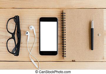 hoek, scherm, telefoon, hout, werkruimte, witte bovenkant, aanzicht