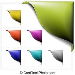hoek, set, linten, kleurrijke