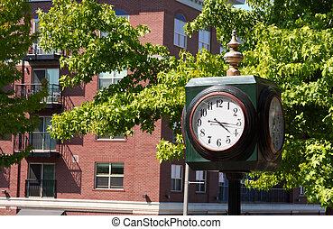hoek, straat, klok