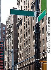 hoek, straat, lege, tekens & borden