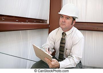 hoeken, inspecteur, bouwsector, -