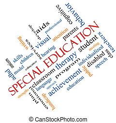 hoekig, concept, woord, bijzondere , opleiding, wolk