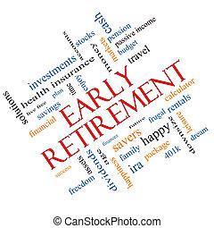 hoekig, concept, woord, vroege pensionnering, wolk