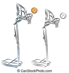 hoepel, basketbal, lijntekening, stander