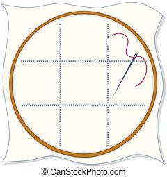 hoepel, naald, borduurwerk, draad