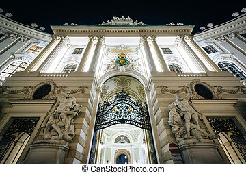 Hofburg Palace at night, in Vienna, Austria.