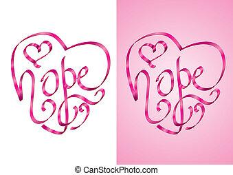 hoffnung, -, brustkrebs- bewußtsein