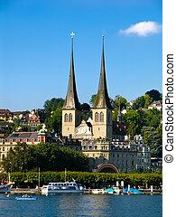 Hofkirche landmark of Luzern (Lucerne) in Switzerland