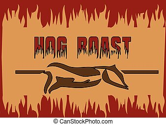 hog roast. abstract barbecue background with silhouette of...