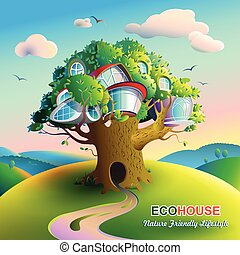 hogar, árbol, naturaleza