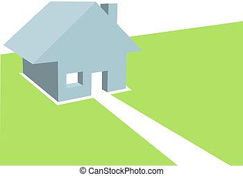 hogar, 3d, ilustración, de, residencial, casa, en, copyspace