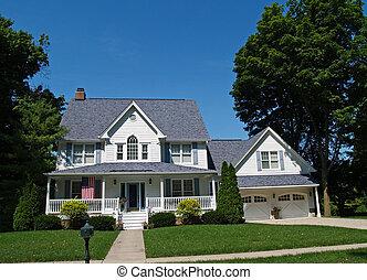 hogar, blanco, dos -story, garaje