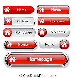 hogar, botón, high-detailed, tela, collection.