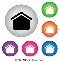 hogar, botón, icono, conjunto
