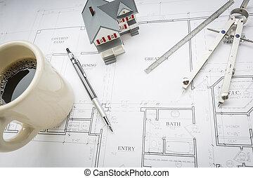hogar, café, lápiz, regla, y, compás, reclinación encendido, casa, planes