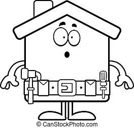 hogar, caricatura, sorprendido, mejora