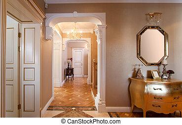 hogar, clásico, interior.