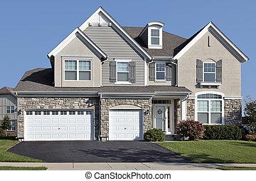 hogar, con, tres, coche, piedra, garaje