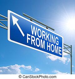 hogar, concept., trabajando